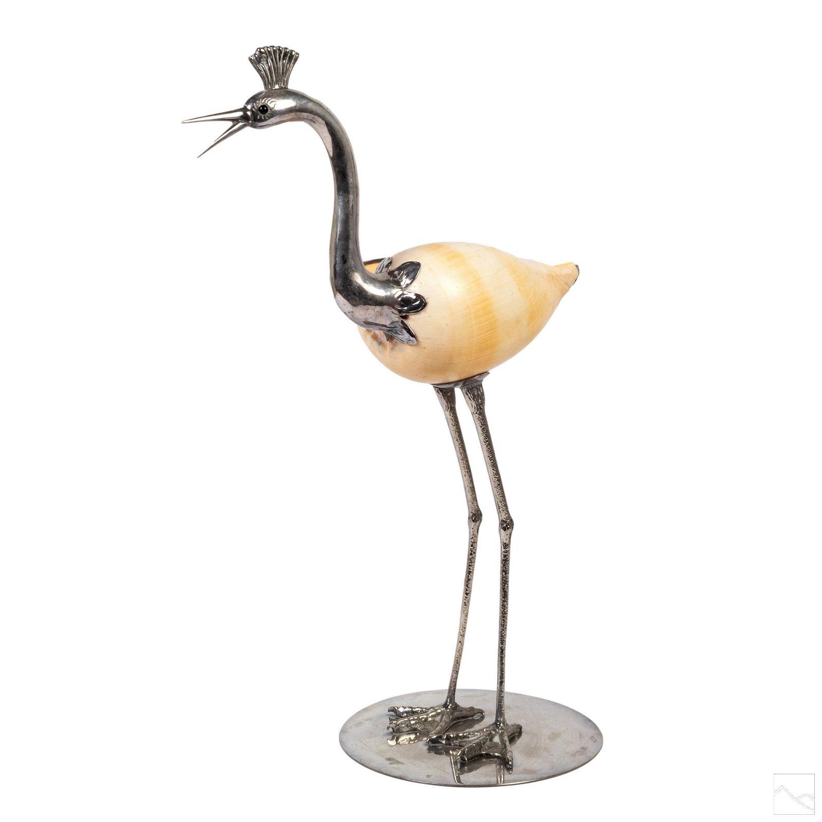 Binazzi Italian Modern Metal Stork Bird Sculpture