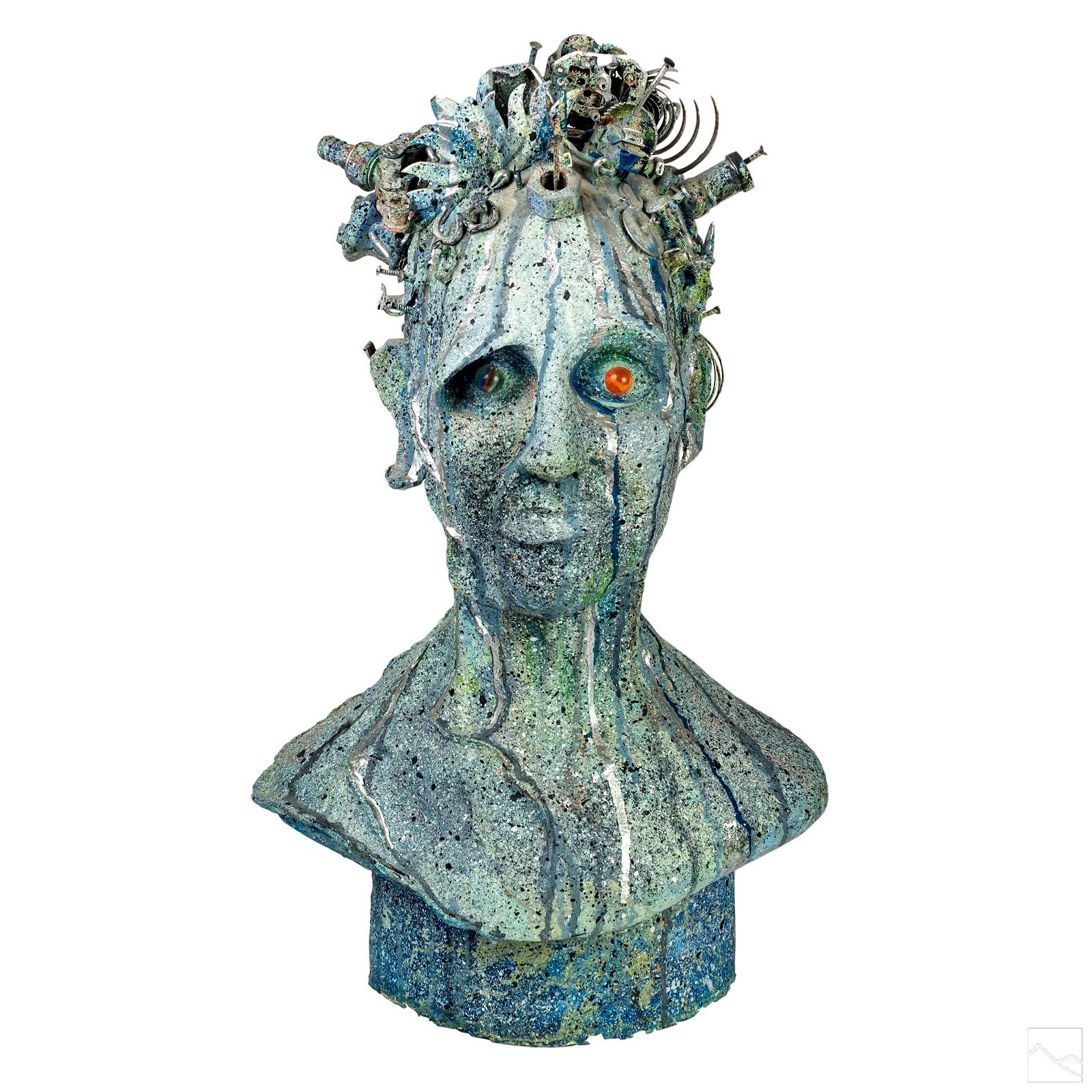 Recycled Outsider Art Signed Head Bust Sculpture