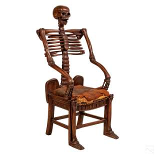 Old Macabre Carved Wooden Life-Like Skeleton Chair