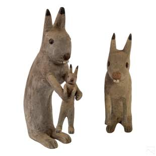 Ewald Rentz (1908-1995) Carved Folk Art Rabbits
