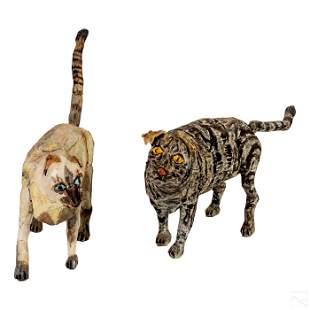 Folk Art Hand Carved Wooden Cat Sculptures Group