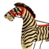 Folk Art Carved Wood Zebra Puppet Figure Sculpture