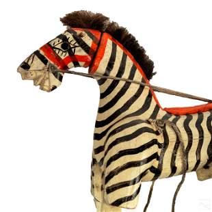 Folk Art Carved Wood Zebra Puppet Figure Sculpture
