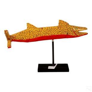 Leo Noggler (b. 1956) Folk Art Wood Fish Sculpture