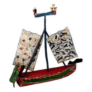 Bradford Naugler b.1948 Folk Art Wood Boat Carving