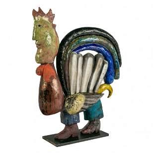 Surrealist Studio Pottery Raku Rooster Sculpture