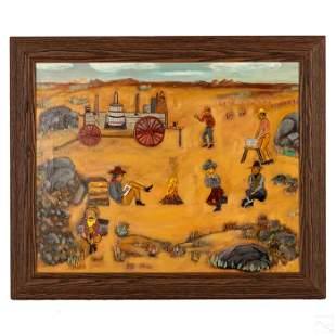 Campfire Cowboys American Signed Folk Art Painting