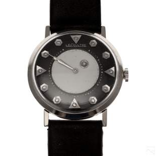 LeCoultre 14K White Gold Black Mystery Dial Watch