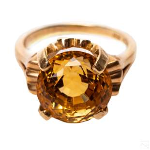 10K Gold Vintage LG 8 Carat Golden Citrine Ring