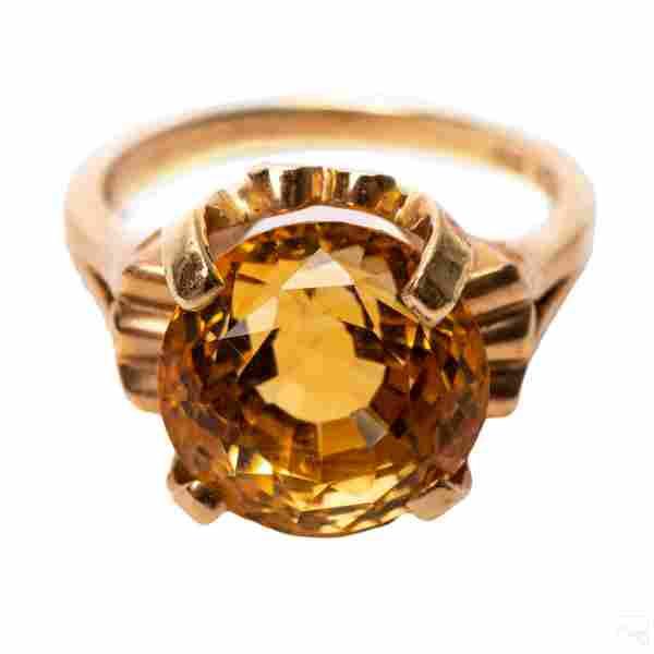 10K Gold Vintage LG 8 Carat Golden Citrine Ring
