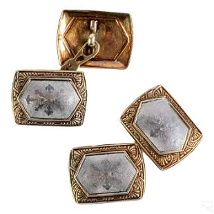 14K Gold Vintage Pair of Men's Two Tone Cufflinks