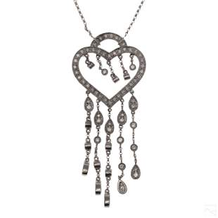 14K White Gold .50ct Diamond Heart Fringe Necklace