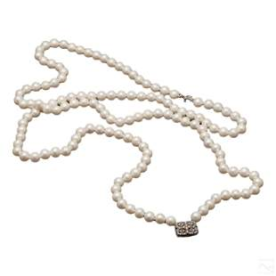 Ladies Saltwater Cultured 8mm Akoya Pearl Necklace