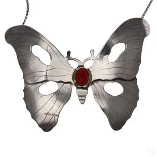 D.R Gray Sterling Silver Scarab Butterfly Necklace