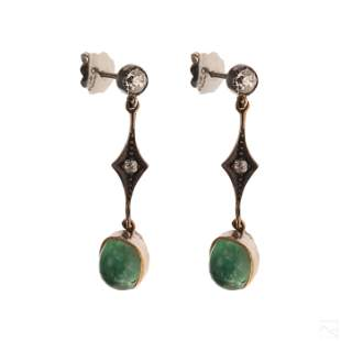 Victorian Emerald Cabochon Diamond Drop Earrings
