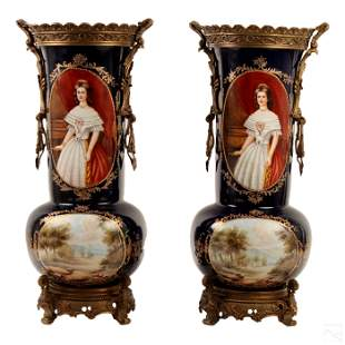 Sevres Style Pair Porcelain & Bronze Palace Vases