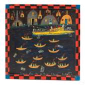 Bradford Naugler b.1948 Folk Art Seascape Painting