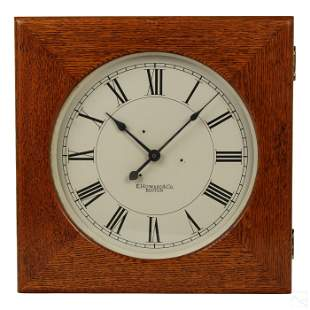 "E. Howard & Co. 1920s Antique 16"" Square Oak Clock"