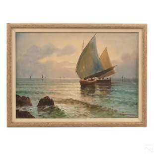 James P Michael Seascape Fishing Boat Oil Painting