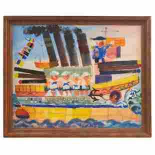 Umy 20th C. MCM Naive Folk Art Seascape Painting