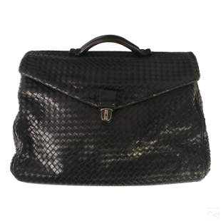 "Bottega Veneta 18"" Black Braided Leather Briefcase"