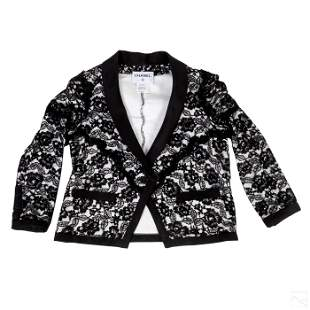 Chanel French White and Black Lace Blazer Size 46