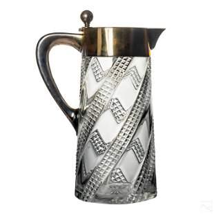 19thC. German .800 Silver & Crystal Carafe Pitcher