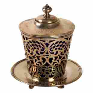 JE Caldwell Sterling Silver Reticulated Lidded Jar
