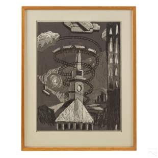 Sam Perry b1963 Modern Industrial Abstract Drawing