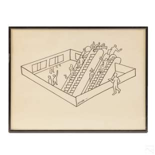 Mark Kostabi (b.1960) Abstract Portal Ink Drawing