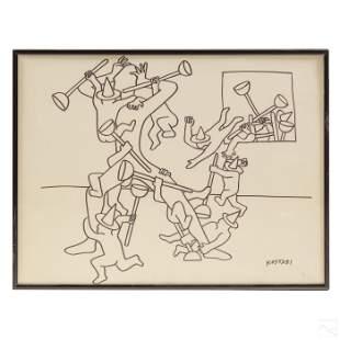 Mark Kostabi (b.1960) Bomb Throwers Ink Drawing