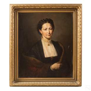 Portrait of a Woman In Black Antique Oil Painting
