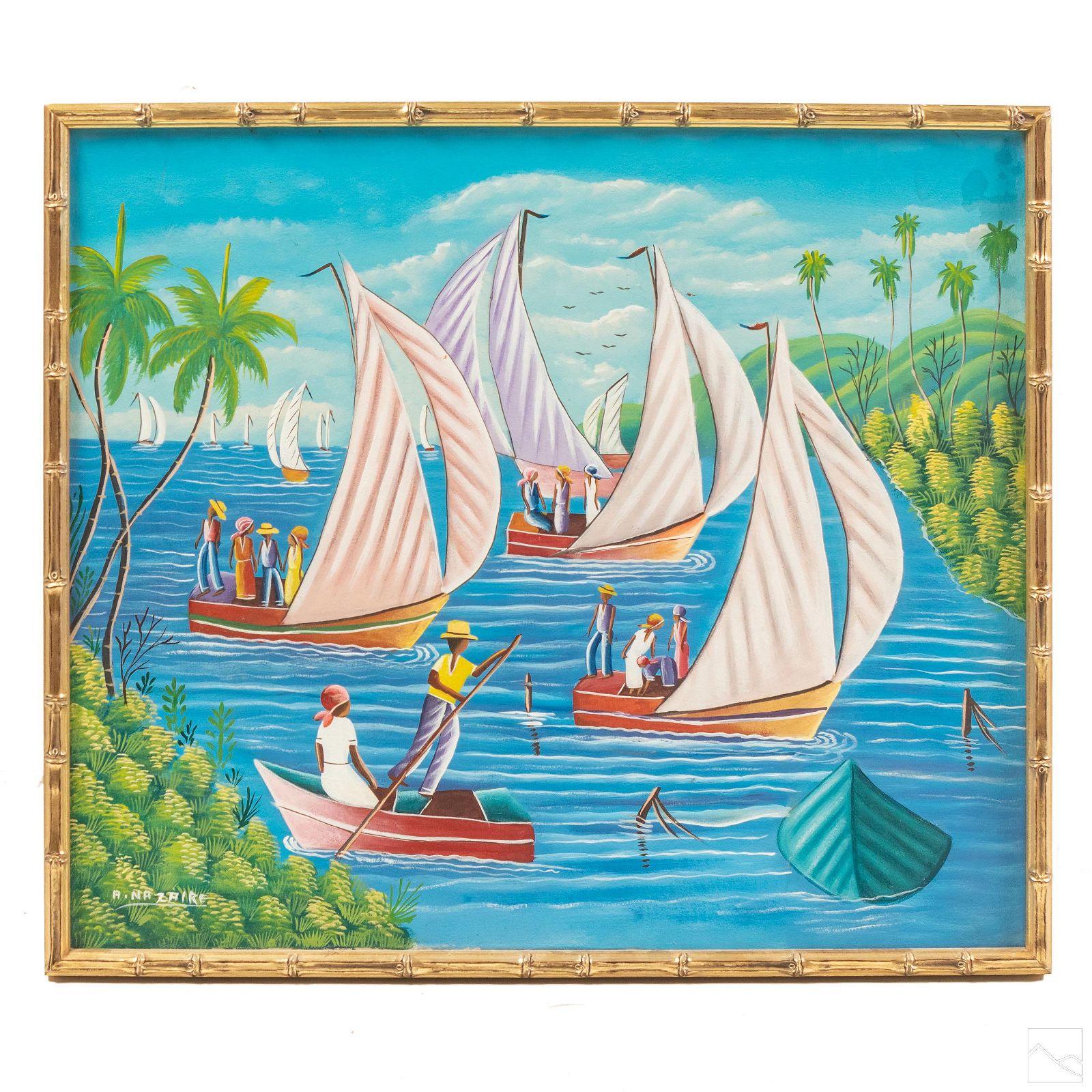 Andre Nazaire Haitian Coastal Landscape Painting