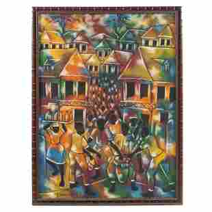P. Beauvoir Haitian Village Expressionist Painting