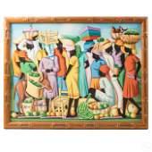 C. Louis Haitian Market Village Women Oil Painting