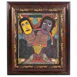 P Pierre Louis 1947-1996 Haitian Folk Art Painting
