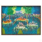 R Bateace Haitian Jungle Landscape Folk Painting