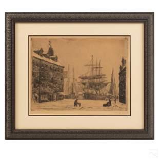 Frederick Hunter 1858-1943 New York Harbor Etching