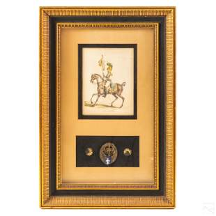 19th Century French Framed Military Medal & Print