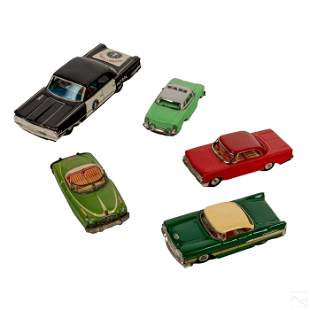 Vintage Polychrome Wind Up Tin Cars & Taxies Group