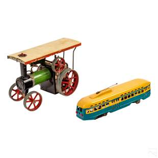 Vintage Mamod Steam Tractor & Toy Cable Bus Group