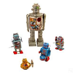 Vintage Polychrome Tin Toy Wind Up Robots Group