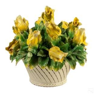 Capodimonte Porcelain Yellow Rose Floral Basket