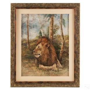 Berry 20th Century Rex Lion Wildlife Oil Painting