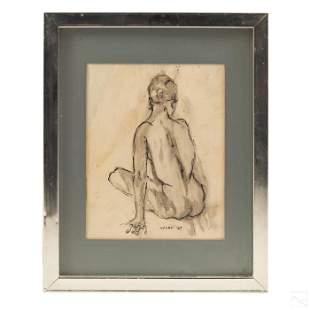 Female Nude Mid Century Modern Portrait Painting