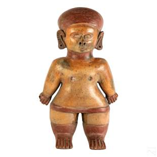 Pre Columbian Style Red Clay Nude Pottery Statue