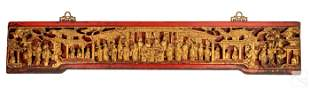 Chinese Antique Wood Gilt & Red Carved Wall Plaque