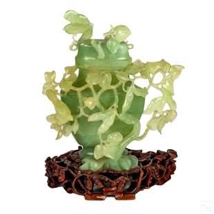 Chinese Carved Celadon Jade Bird Covered Urn Vase