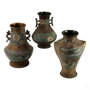 Chinese Export Lot Champleve Enamel Bronze Vases