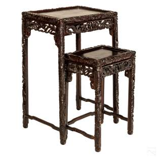Chinese Pair of Carved Wood Dragon Nesting Tables